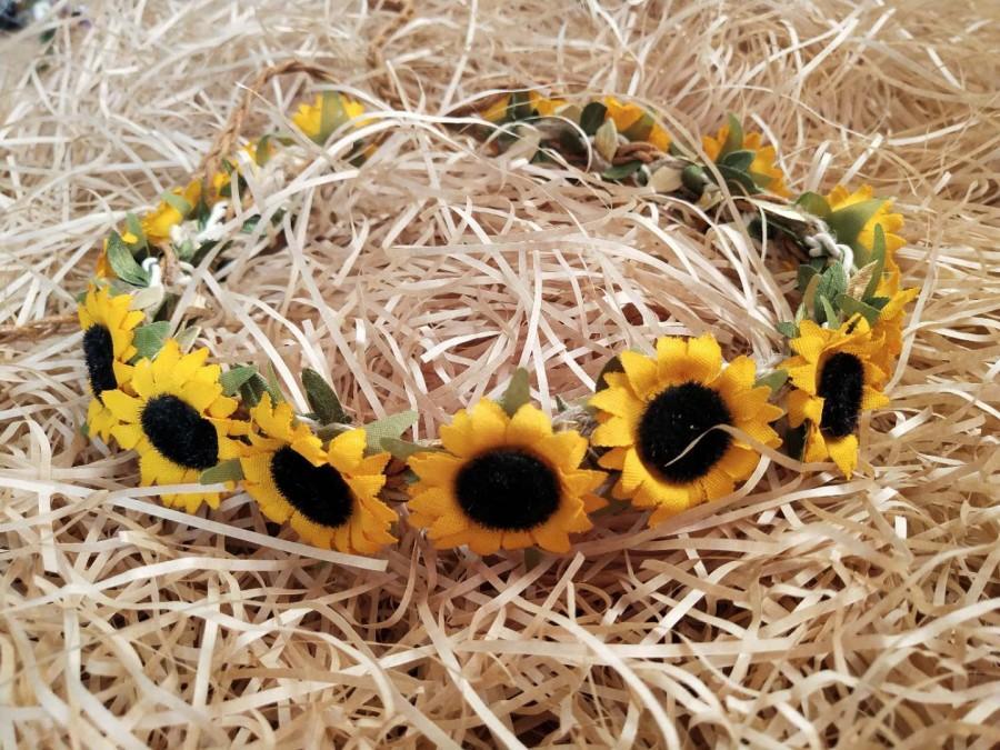 Wedding - Flower headpiece Sunflower Crown Wedding Bridal Flower Crown Flower Girl Crown Baby Flower Crown Sunflower Headband Bohemian flower Crown