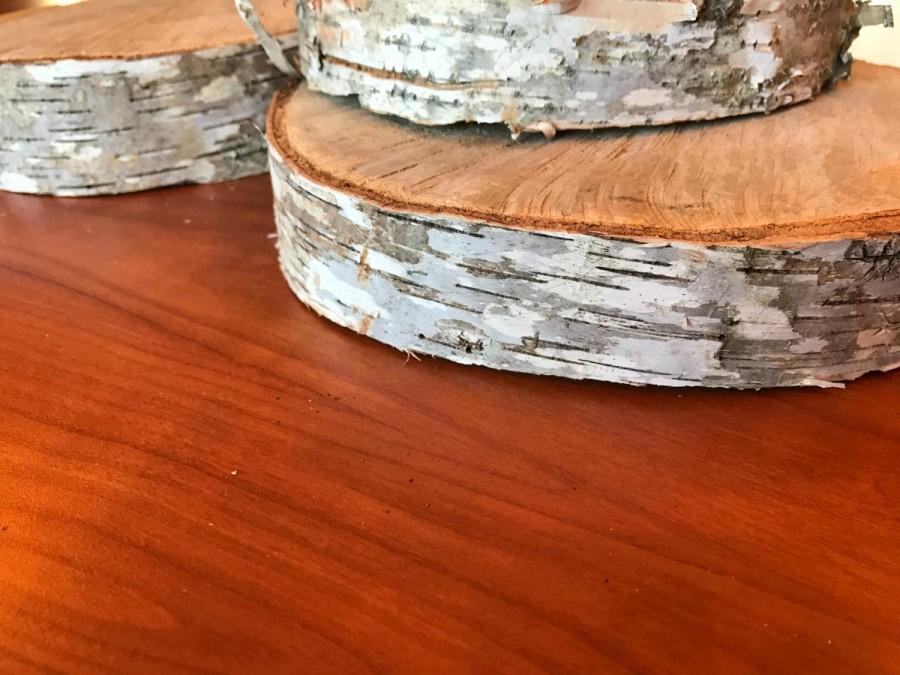 Mariage - Thick Level White Birch Slabs, Dried Birch Tree Disk, Tree Slices, Birch Wood, Round Wood Slices, Birch Wood, Rustic Wedding Centerpiece