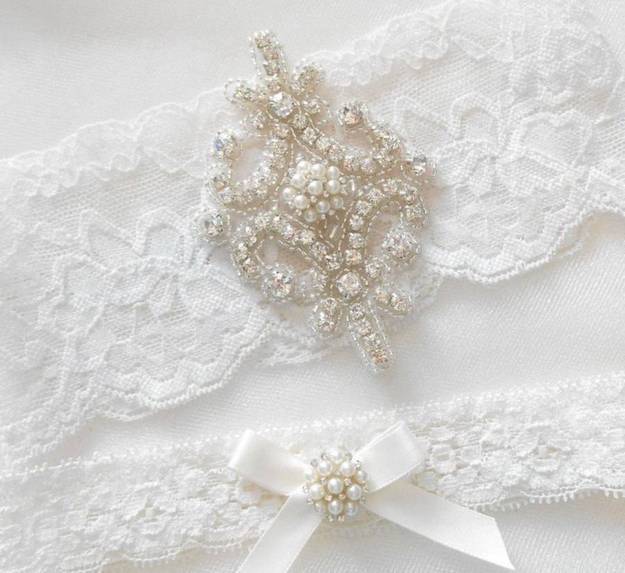 "Wedding - Wedding Garter Set Ivory or White 3"" Stretch Lace Bridal Garter Set With Beautiful Rhinestone Setting Garter Set."