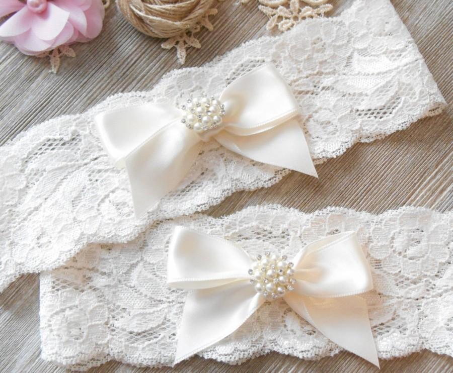 Свадьба - Rose Gold or Silver Setting Wedding Garter Keepsake or Set ADD MONOGRAMMING Lingerie Lace Pearls and Rhinestones Satin Bows Bridal Garter