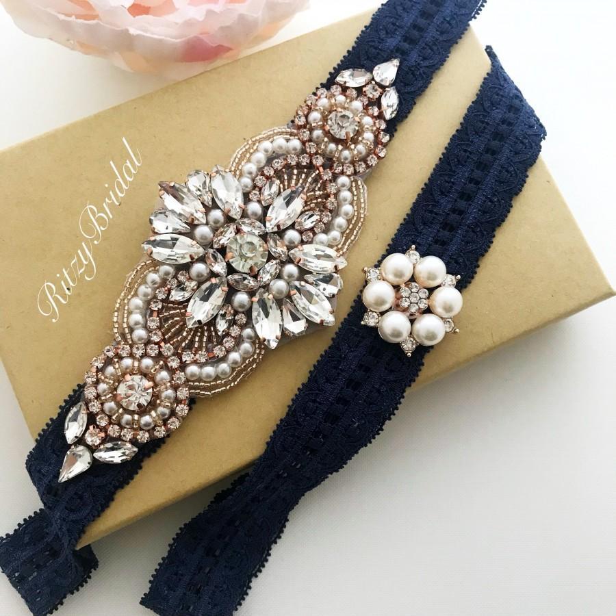 Mariage - wedding garter, garters for wedding, blue garter, wedding garter set, wedding garter rose gold, bridal garter rose gold, wedding garter navy