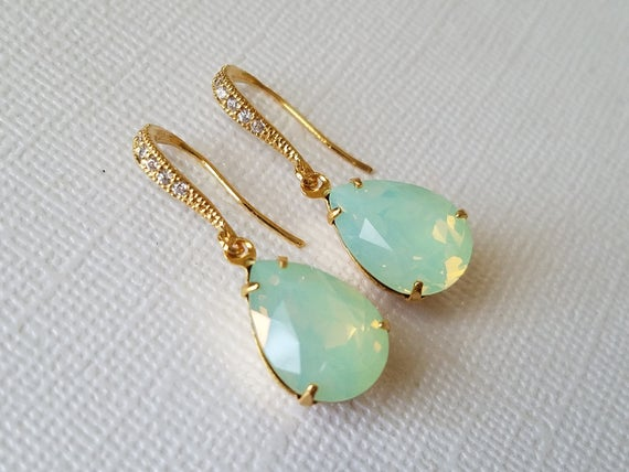 Wedding - Mint Green Opal Earrings, Swarovski Green Opal Gold Earrings, Pastel Green Teardrop Earrings, Green Opal Bridal Bridesmaid Wedding Jewelry