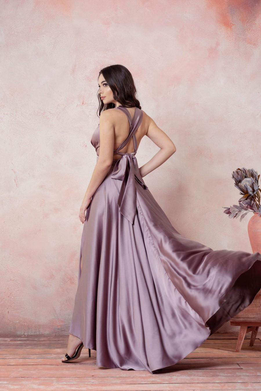 Свадьба - Mauve Sleeveless Bridesmaid dress, Mauve prom dress, Long Prom dress, Criss cross dress, V neck dress, fit and flare dress, belle dress