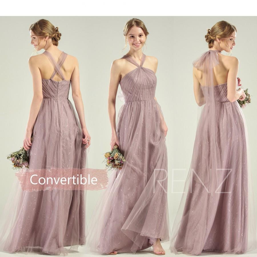 Свадьба - Infinity Bridesmaid Dress Dark Mauve Tulle Convertible Straps Multiway Dress Halter Wedding Dress Long A-line Formal Dress (HS722)