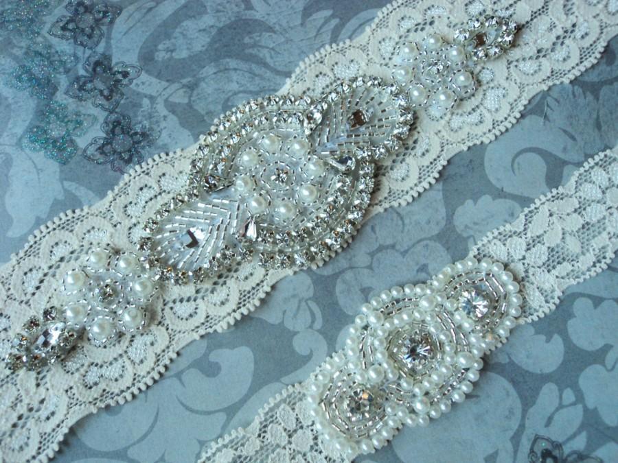 Hochzeit - SALE! Wedding Garter Set - Vintage Ivory Lace Garter with Pearl and Rhinestone Applique - Garter Toss