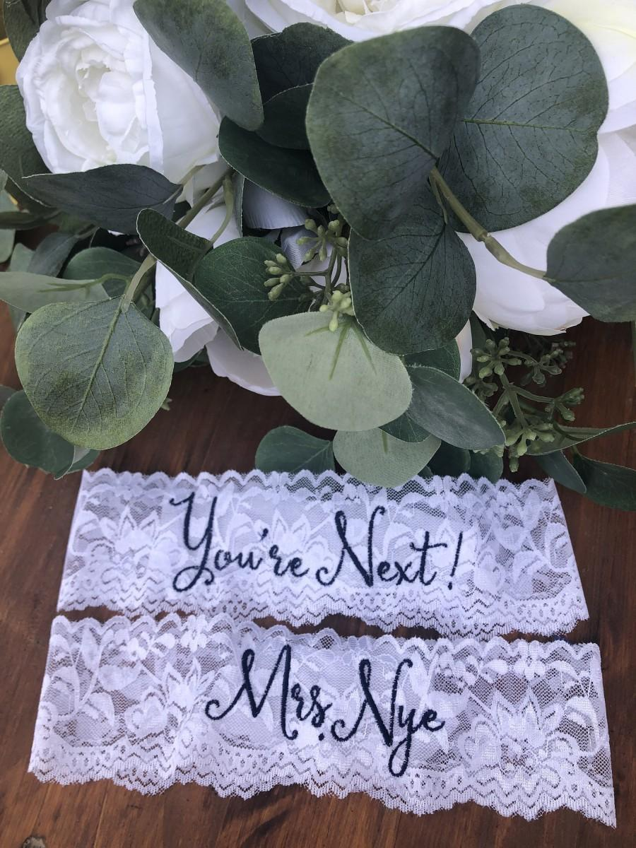 Hochzeit - Personalized Wedding and Toss Garters.  Embroidered/ Something Blue! Nice Catch Garter / You're Next Garter Ships FREE within 3 days!