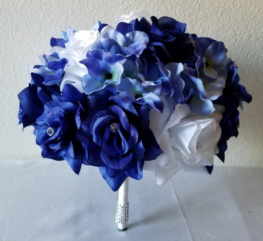 Mariage - Royal Blue White Rhinestone Rose Hydrangea Bridal Wedding Bouquet & Boutonniere