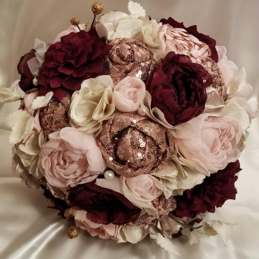 Mariage - Rose Gold sequin, Blush, and Burgundy Fabric Bouquet. Made to order.