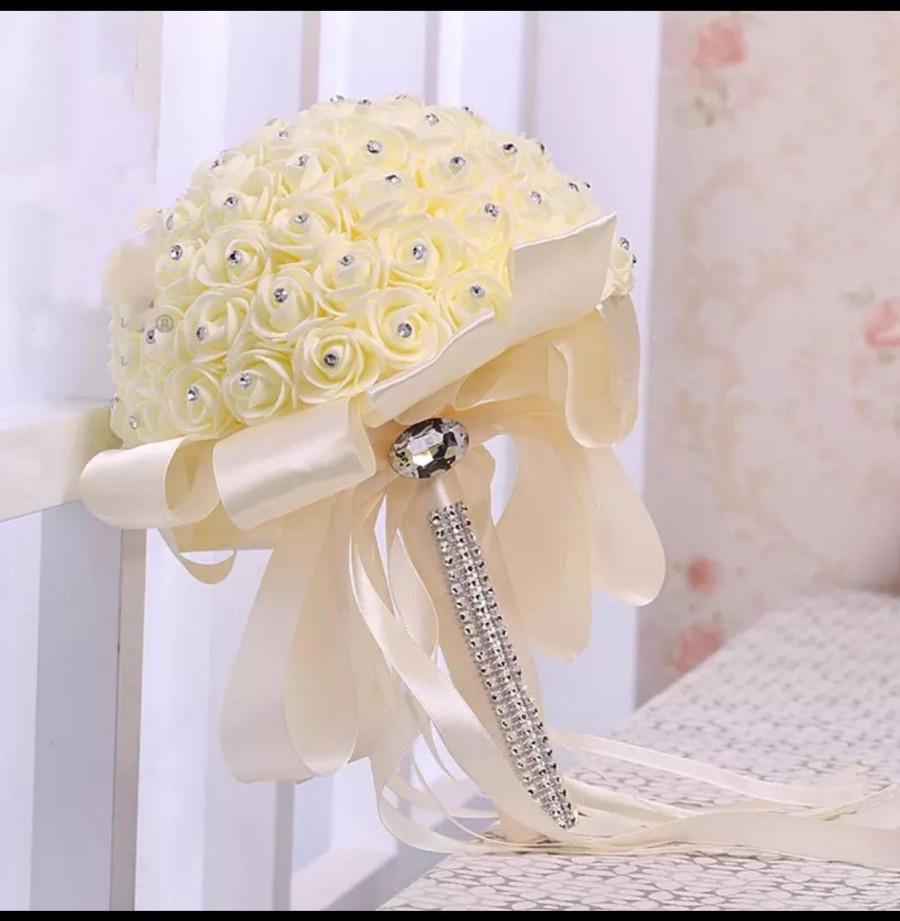 Hochzeit - Handmade Bridal Bouquet Beauty Foam Roses Bride Flower Wedding Party Accessory!