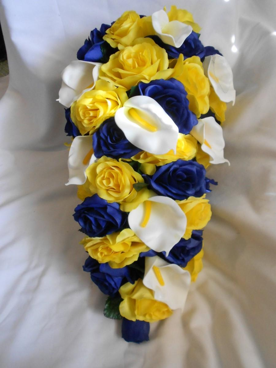 Mariage - Yellow and Navy brides flowers cascade bouquet 2 pieces Free toss boutonnier and toss