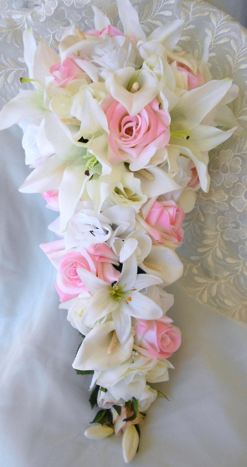 Wedding - Bridal cascade wedding bouquet white and pink roses with casablanca lilies and callas