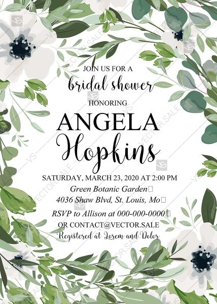 Wedding - Bridal shower invitation watercolor greenery herbal and white anemone PDF 5x7 in edit online