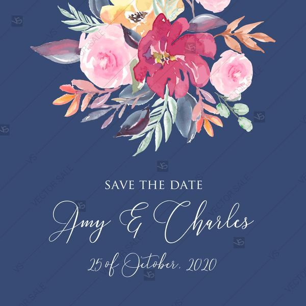 Свадьба - Save the date card watercolor wedding marsala peony pink rose navy blue background 5.25x5.25 in pdf customize online