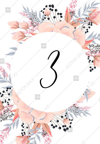 زفاف - Anemone table card printable template blush pink watercolor flower PDF 5x7 in invitation editor