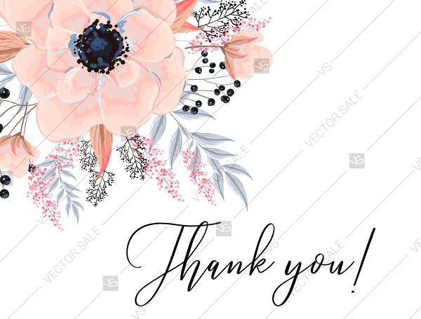 Mariage - Anemone thank you card printable template blush pink watercolor flower PDF 5x7 in customize online