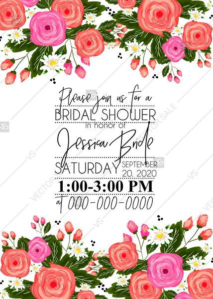 Wedding - Rose bridal shower invitation card printable template PDF template 5x7 in online editor