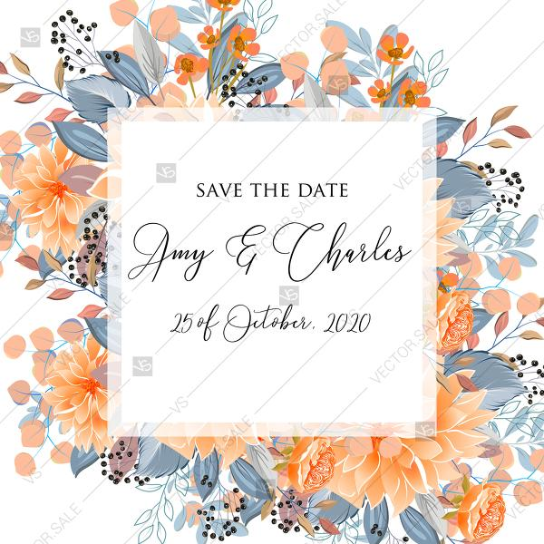 Свадьба - Save the date peach chrysanthemum sunflower floral printable card template PDF 5.25x5.25 in edit template