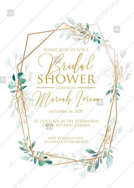 Свадьба - Bridal shower wedding invitation wedding set gold leaf laurel watercolor eucalyptus greenery PDF 5x7 in invitation editor