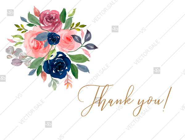 Wedding - Thank you card watercolor navy blue rose marsala peony pink anemone greenery PDF 5.6x4.25 in wedding invitation maker