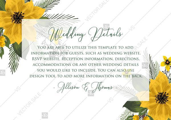 Wedding Details Card Wedding Invitation Set Sunflower Yellow