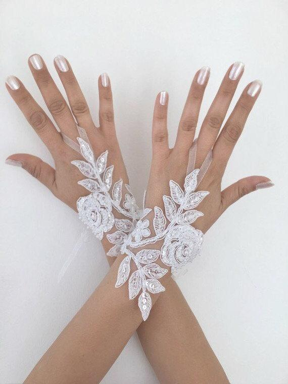 زفاف - Ivory or white Wedding Gloves, Bridal Gloves, lace gloves, Handmade gloves, bride glove bridal gloves lace gloves fingerless gloves