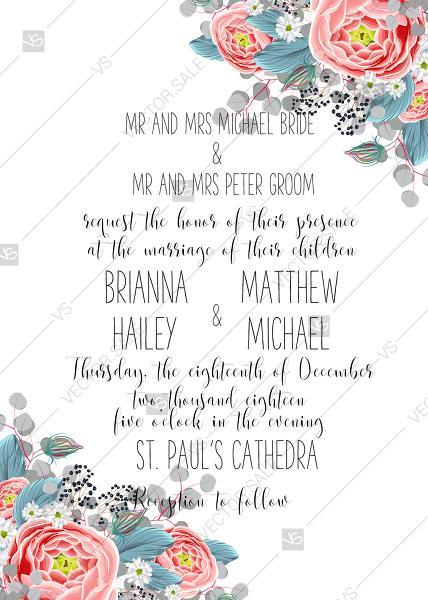 Wedding Invitation Set Pink Peony Tea Rose Ranunculus Floral