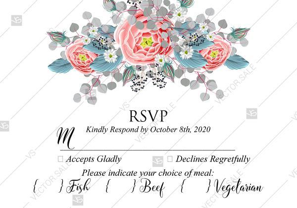 زفاف - RSVP Wedding invitation set pink peony tea rose ranunculus floral card template PDF 5x3.5 in online editor