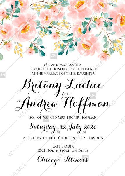 Свадьба - Wedding invitation set blush pastel peach rose peony sakura watercolor floral eucaliptus greenery PDF 5x7 in invitation maker