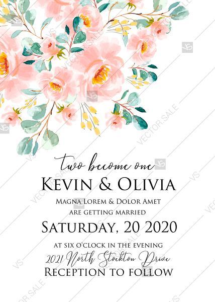 Wedding - Wedding invitation set blush pastel peach rose peony sakura watercolor floral party poster PDF 5x7 in edit online