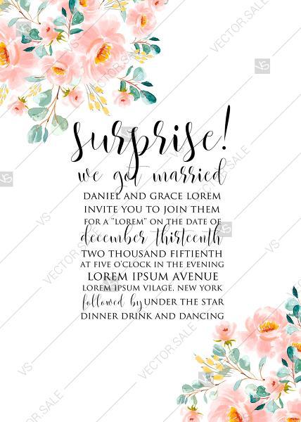 Wedding - Wedding invitation set blush pastel peach rose peony sakura watercolor floral mother day card PDF 5x7 in customizable template