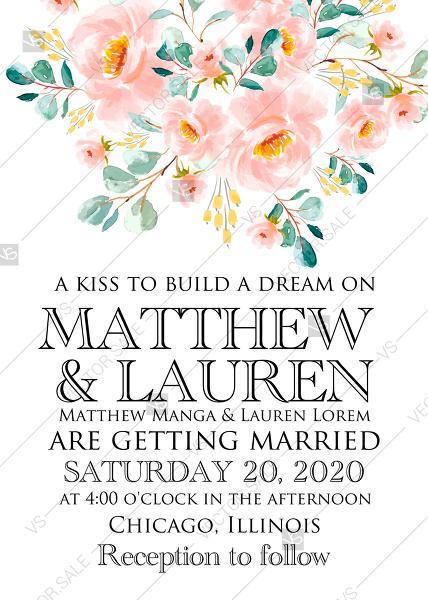 Wedding - Wedding invitation set blush pastel peach rose peony sakura watercolor floral anniversary PDF 5x7 in online maker