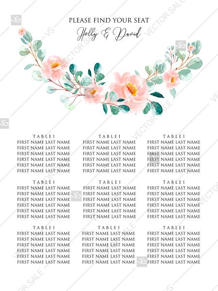 Hochzeit - Wedding seating chart blush pastel peach rose peony sakura watercolor floral eucaliptus greenery PDF 18x24 in online maker