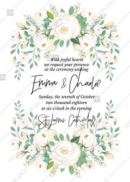 Wedding - Wedding invitation vintage set white rose peony herbal greenery PDF 5x7 in wedding invitation maker