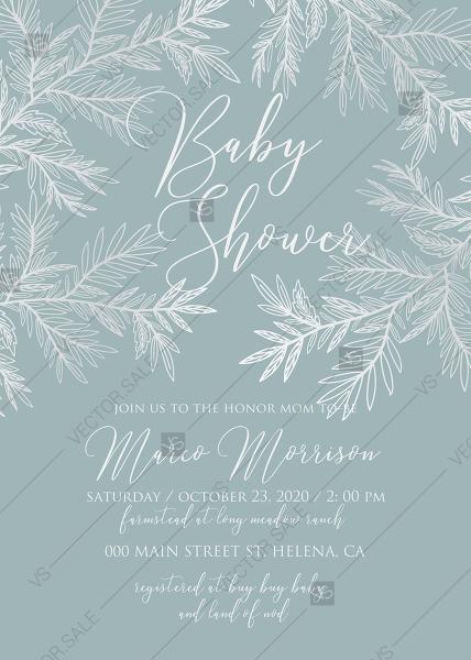 Wedding - Wedding invitation cards embossing gray blue silver foil herbal greenery PDF 5x7 in