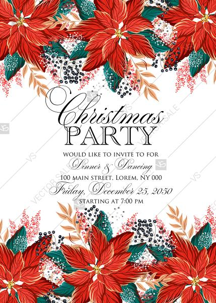 Wedding - Poinsettia Christmas Party Invitation Noel Card Template PDF 5x7 in invitation editor