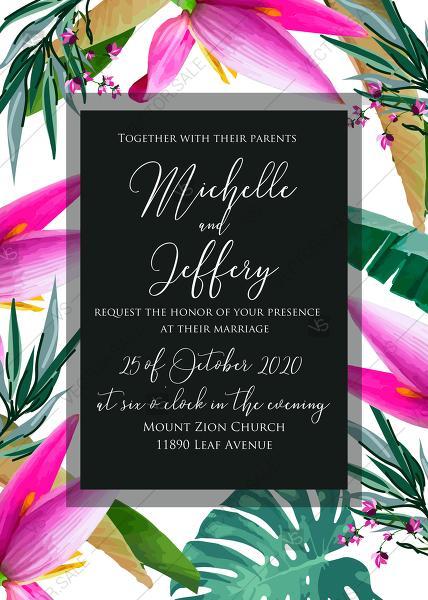 Wedding Invitation Card Set Pink Pink Tropical Flowers