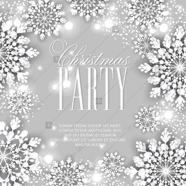 Hochzeit - Winter Paper cut snowflakes background Christmas Party Invitation floral pattern