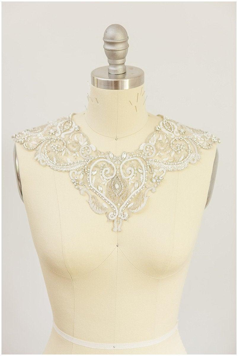 Свадьба - Made to order - Crystal Neckline, Bridal accessoires, Bridal cape, Wedding jewelry, Rhinestone neckline, swarovski Neckline, crystal lace