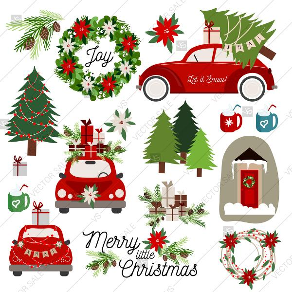 Wedding - Merry Christmas Tree On red vw beetle Car Clipart winter holiday vectora elements