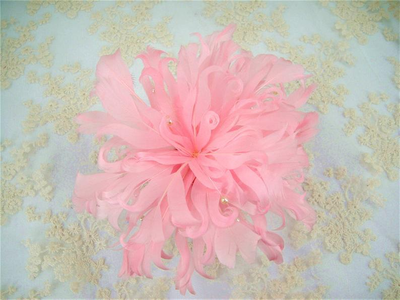 Свадьба - Feather Flower Hair Accessories Millinery Feather Flower Natural Feathers Adornment for Millinery, Fascinators , Crafts, 1 Piece