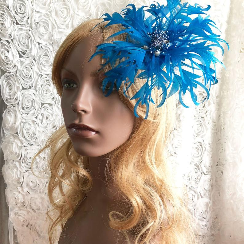 Wedding - Handmade Flower Feather Flowers with Pearl Details Fascinator Feather Flower Trim for Party Headpiece Bridal Veil Made to order 1 Piece
