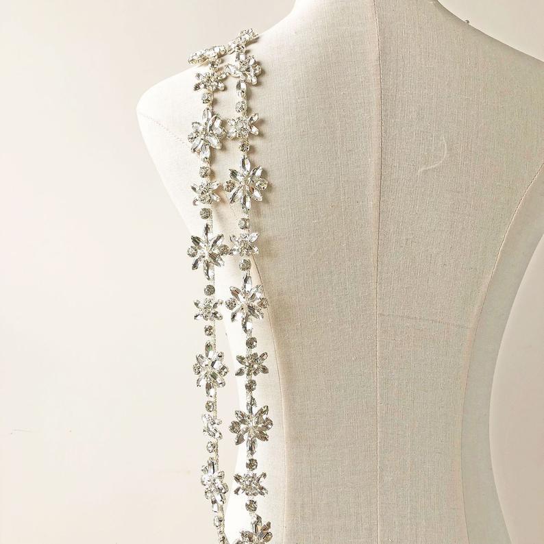 Hochzeit - Crystal Bridal Sashes Belt trim Floral Rhinestones Applique Accent for Wedding Dress Evening Gown Length Customized