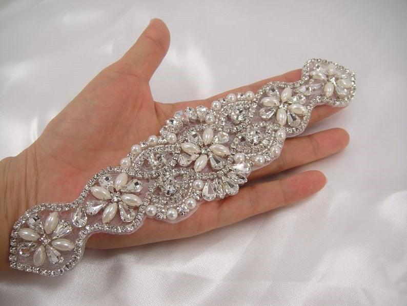 Wedding - Rhinestone applique, Diamante Applique,crystal Pearl applique for Bridal Sash, Bridal Applique, wedding applique, pearl beaded, wedding belt