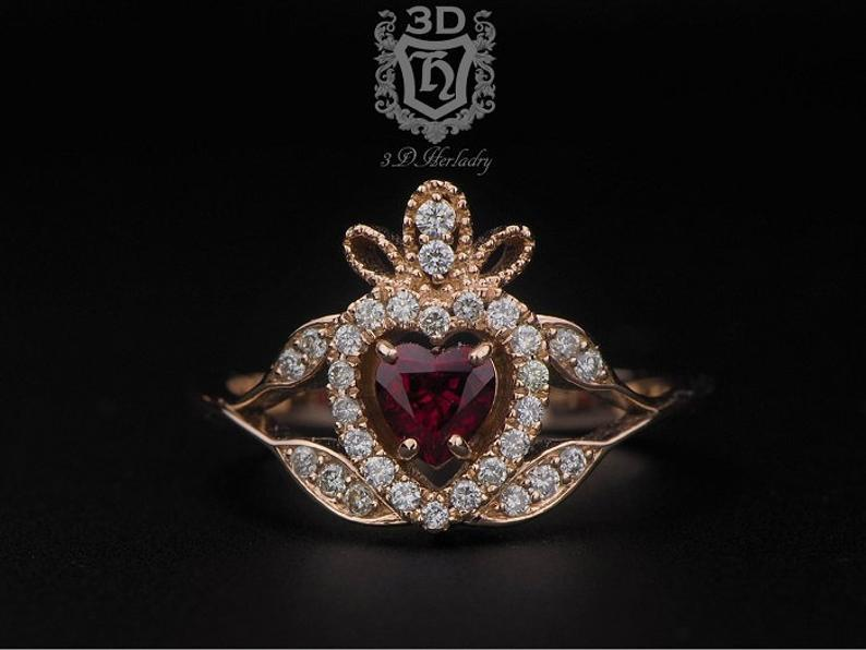 Wedding - Claddagh ring , Ruby engagement ring with natural diamonds made in 14k rose gold