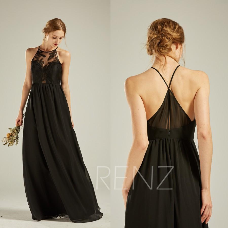 Wedding - Black Bridesmaid Dress Halter Wedding Dress Black Chiffon Formal Dress Lace Illusion Back Spaghetti Strap A-line Party Dress(L516)