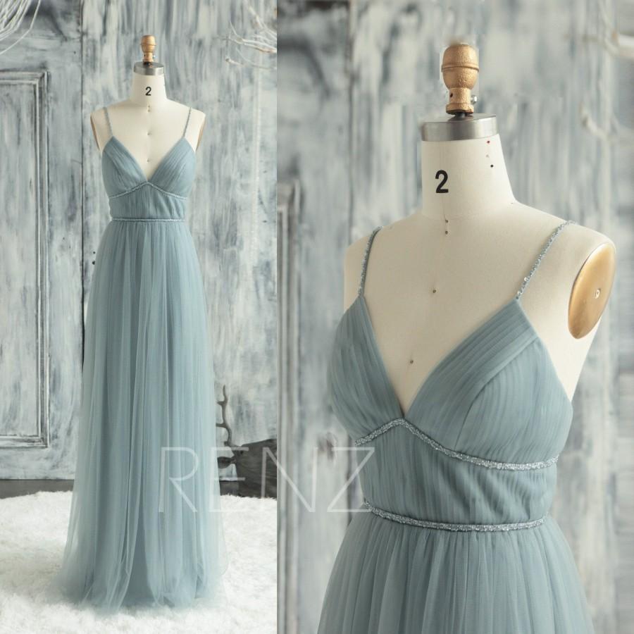 Wedding - Prom Dress Dusty Blue Tulle Bridesmaid Dress V Neck Wedding Dress Beaded Spaghetti Strap Formal Dress Long Pleated Party Dress (LS645)