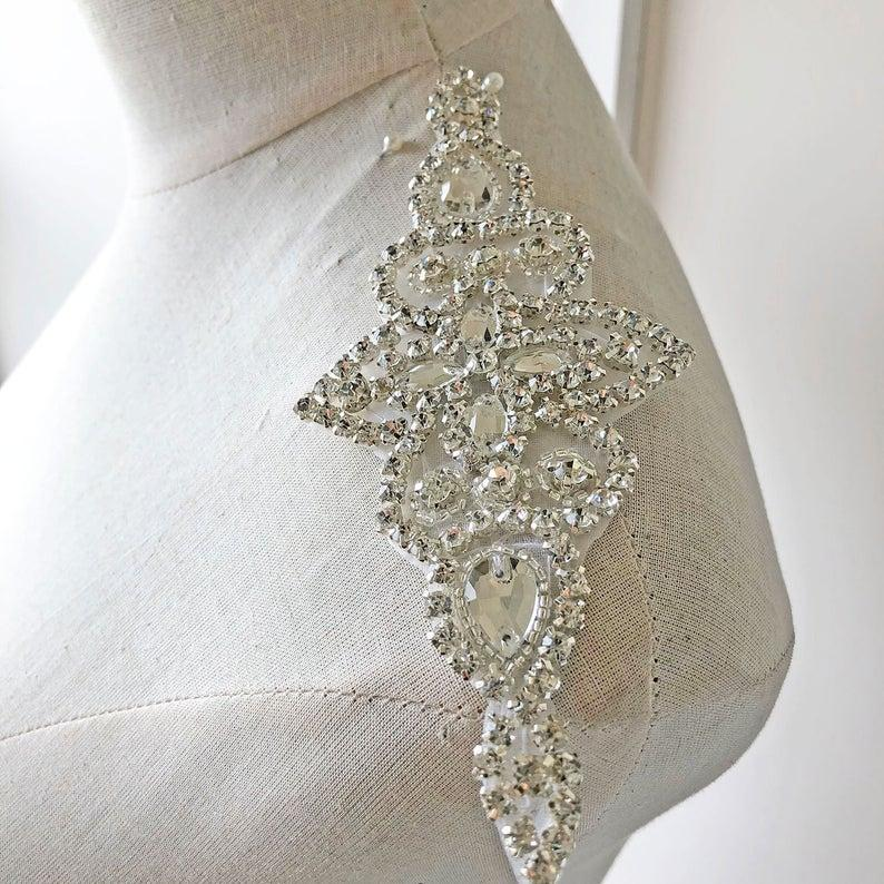 Mariage - Shiny Rhinestone applique Iron on Diamante Patch Crystal Addition DIY for Bridal Garter Wedding Headband Prom Dress Belt
