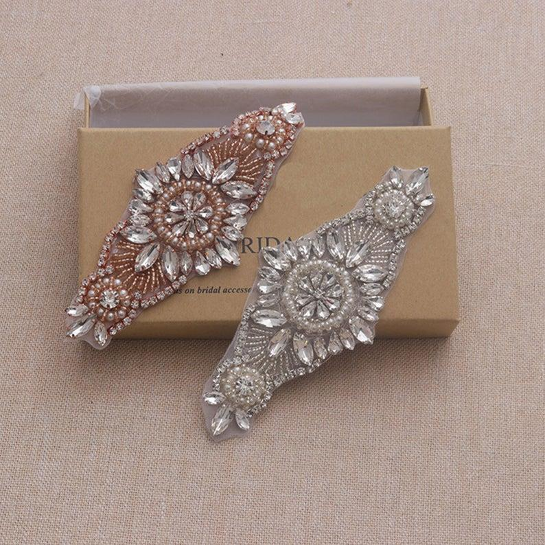 Wedding - Rose Gold Rhinestone appliques Sparkle Wedding Garter Applique Iron on Crystal patch for Shoes Decor