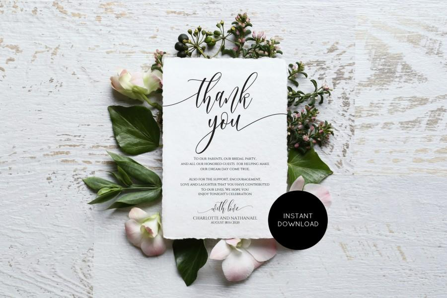 زفاف - Wedding Thank You Note, Printable Thank You Card Template, Instant Download, Edit with TEMPLETT, WLP-SOU 1776