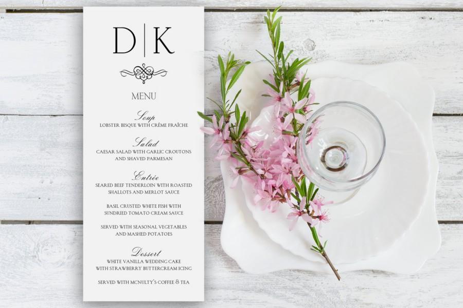 Hochzeit - Fancy Monogram Slim Line Wedding Menu Cards
